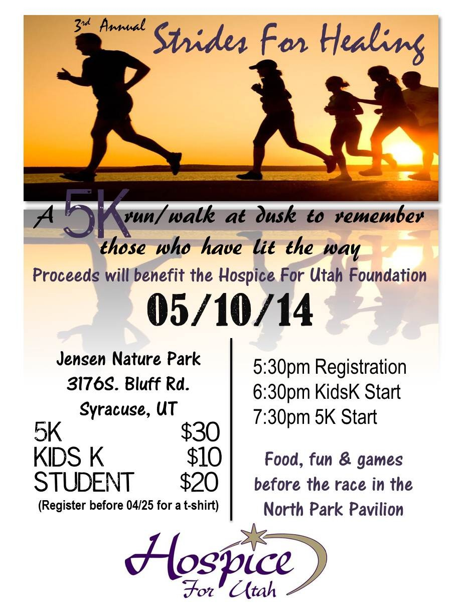 Details about the Strides for Healing 5K by Hospice for Utah